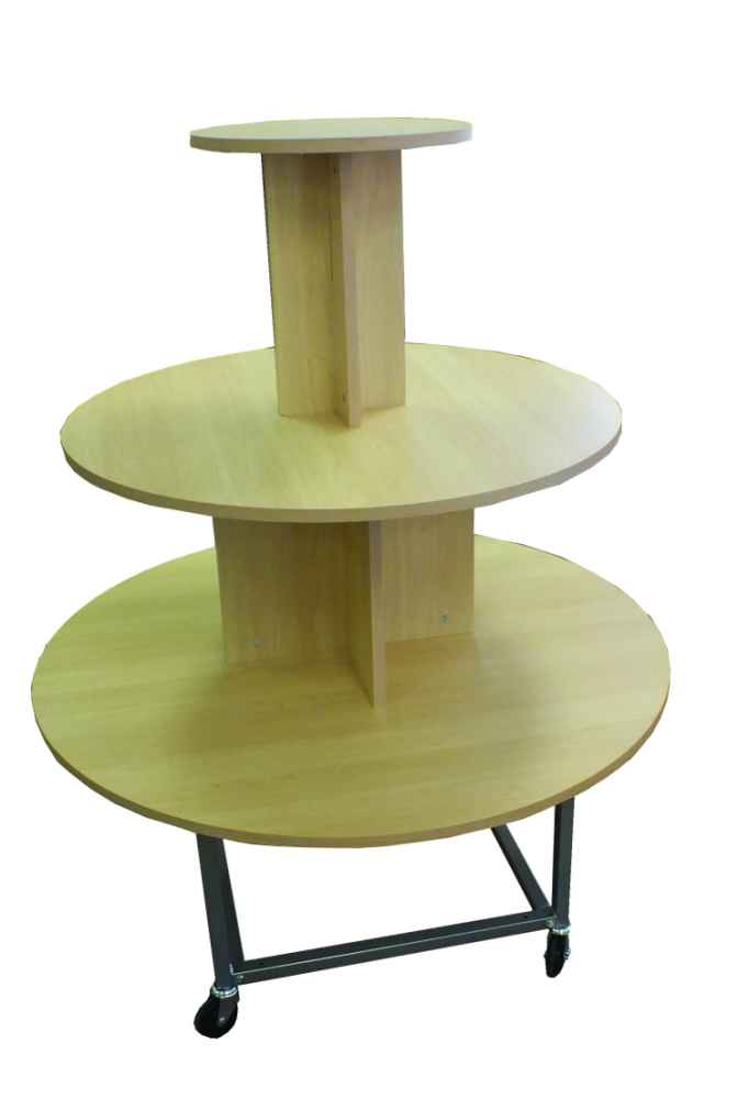 4 Tier Shelf Display · 3 Tier Round Maple Table On Casters