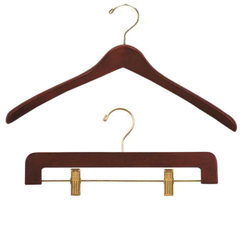 dark walnut contoured wood hangers