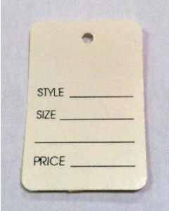 LARGE NON-PERFORATED WHITE TAG- NO STRING